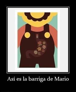 ¿Que contiene la barriga de Mario Bros?