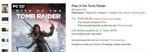 Rise of the Tomb Raider para PC llegaría en enero.
